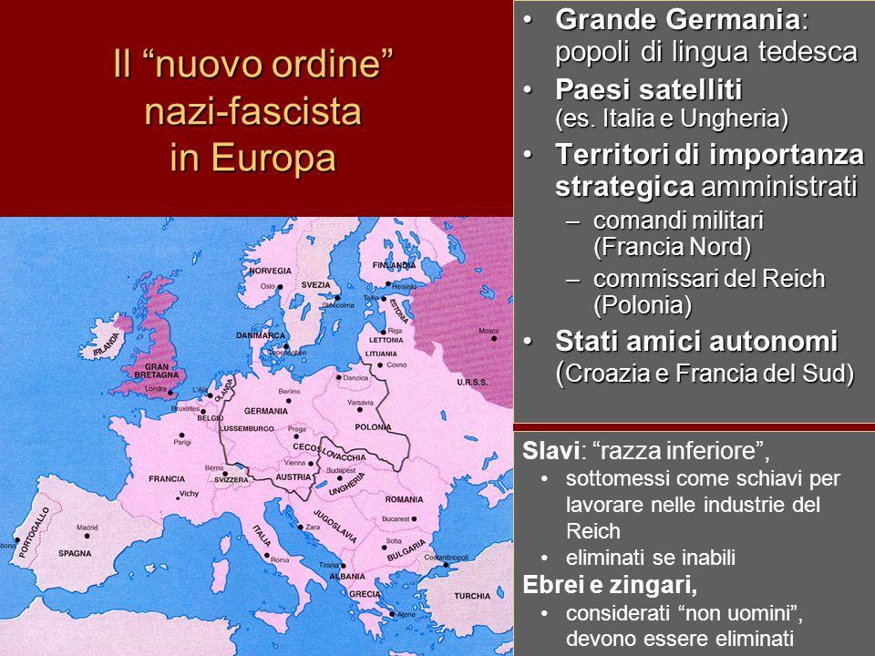 """Il """"nuovo ordine"""" nazi-fascista in Europa Grande Germania: popoli di lingua tedesca Paesi satelliti (es. Italia e Ungheria) Territori di importanza st"""