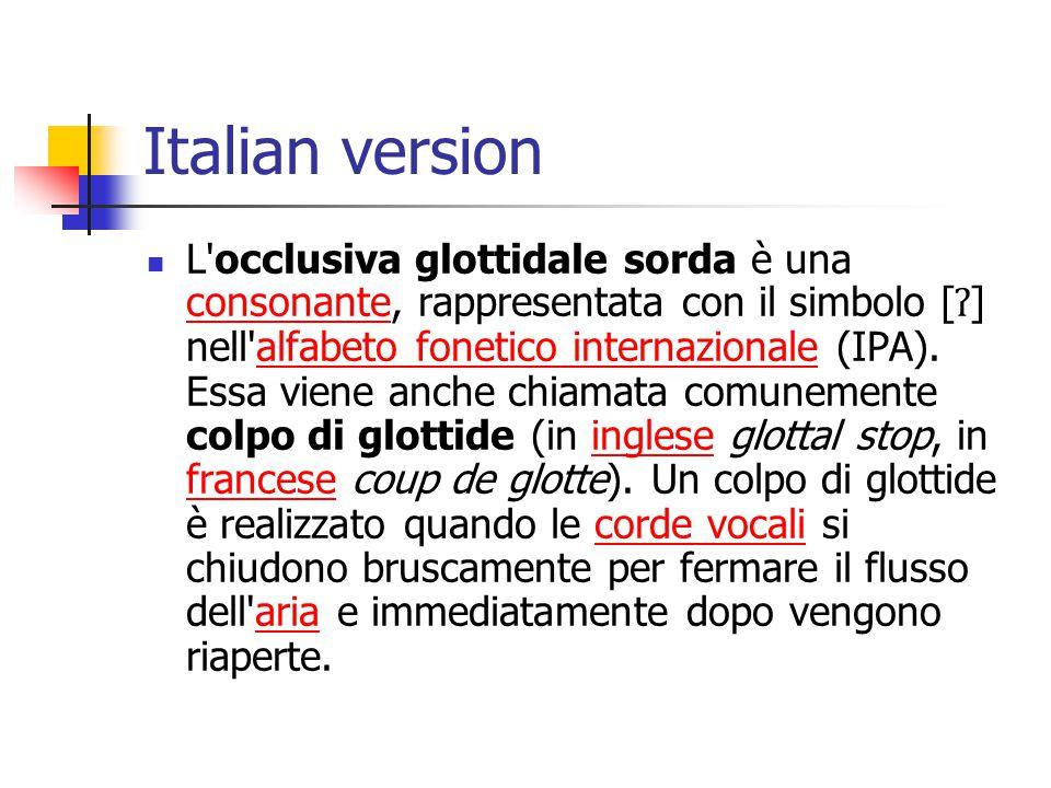 Italian version L'occlusiva glottidale sorda è una consonante, rappresentata con il simbolo [ ʔ ] nell'alfabeto fonetico internazionale (IPA). Essa vi