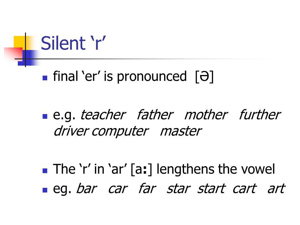 Other Silent letters 1.final 'n' after 'm' eg. column autumn 2.