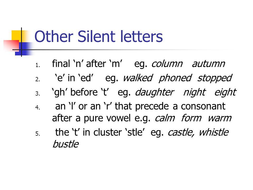 Silent 'e' A final 'e' which follows cluster 'single vowel + single consonant is silent.