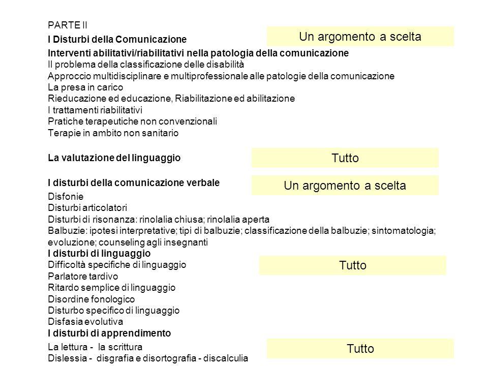 PARTE II I Disturbi della Comunicazione Interventi abilitativi/riabilitativi nella patologia della comunicazione Il problema della classificazione del