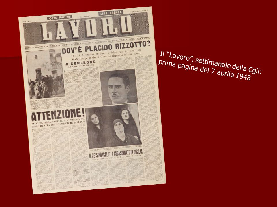Il Lavoro , settimanale della Cgil: prima pagina del 7 aprile 1948