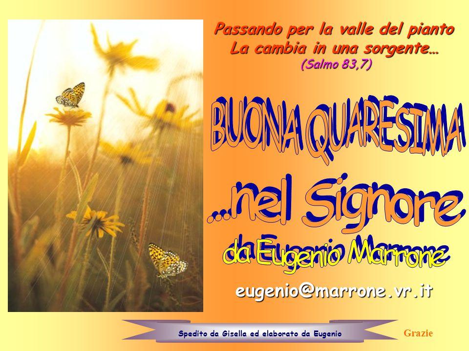 Passando per la valle del pianto La cambia in una sorgente… (Salmo 83,7) eugenio@marrone.vr.it Spedito da Gisella ed elaborato da Eugenio Grazie