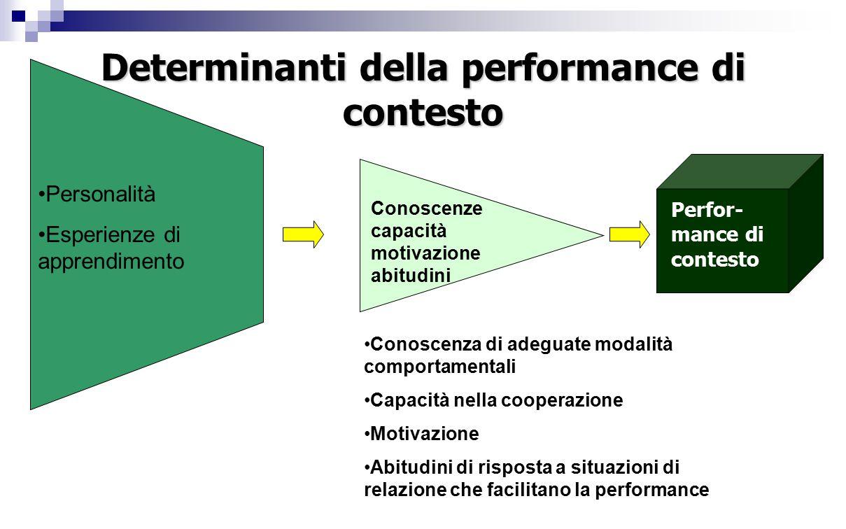 Determinanti della performance di contesto Personalità Esperienze di apprendimento Conoscenza di adeguate modalità comportamentali Capacità nella cooperazione Motivazione Abitudini di risposta a situazioni di relazione che facilitano la performance Perfor- mance di contesto Conoscenze capacità motivazione abitudini