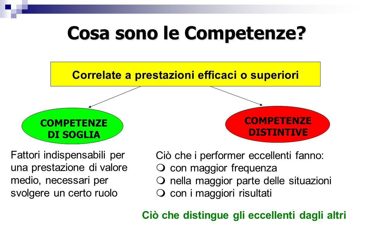 Ciò che i performer eccellenti fanno:  con maggior frequenza  nella maggior parte delle situazioni  con i maggiori risultati Ciò che distingue gli eccellenti dagli altri Correlate a prestazioni efficaci o superiori Cosa sono le Competenze.