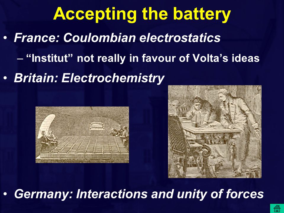 Accepting the battery France: Coulombian electrostatics – Institut not really in favour of Volta's ideas Britain: Electrochemistry Germany: Interactions and unity of forces