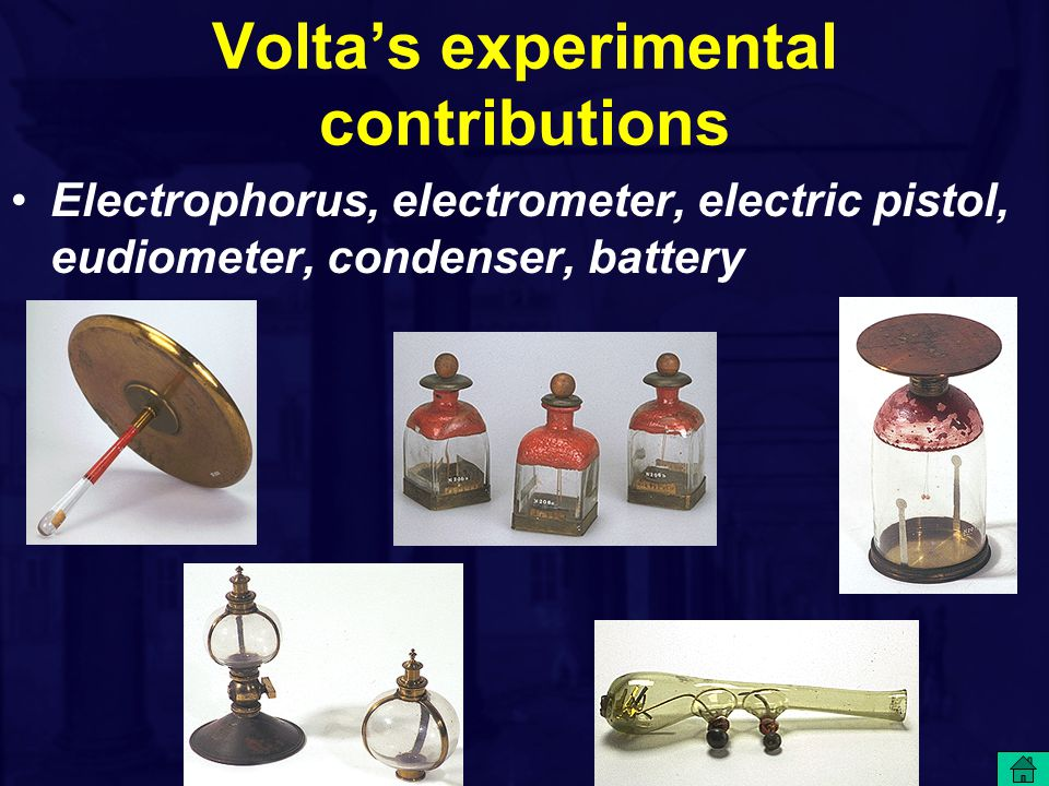 Volta's experimental contributions Electrophorus, electrometer, electric pistol, eudiometer, condenser, battery