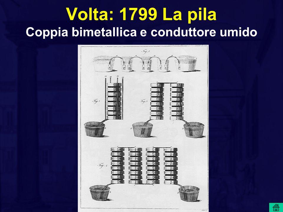 Volta: 1799 La pila Coppia bimetallica e conduttore umido