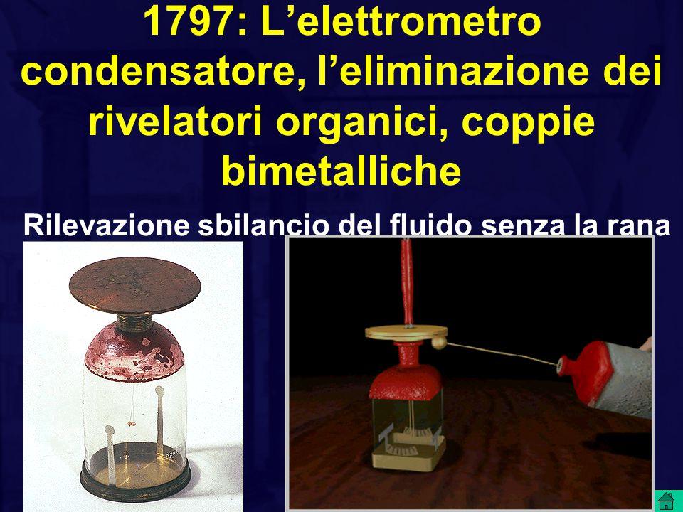 1797: L'elettrometro condensatore, l'eliminazione dei rivelatori organici, coppie bimetalliche Rilevazione sbilancio del fluido senza la rana