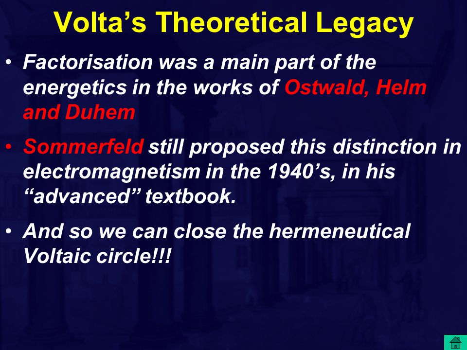 Volta's Theoretical Legacy Factorisation was a main part of the energetics in the works of Ostwald, Helm and Duhem Sommerfeld still proposed this distinction in electromagnetism in the 1940's, in his advanced textbook.