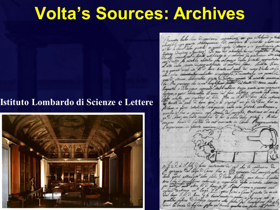 Volta's Sources: Archives Istituto Lombardo di Scienze e Lettere