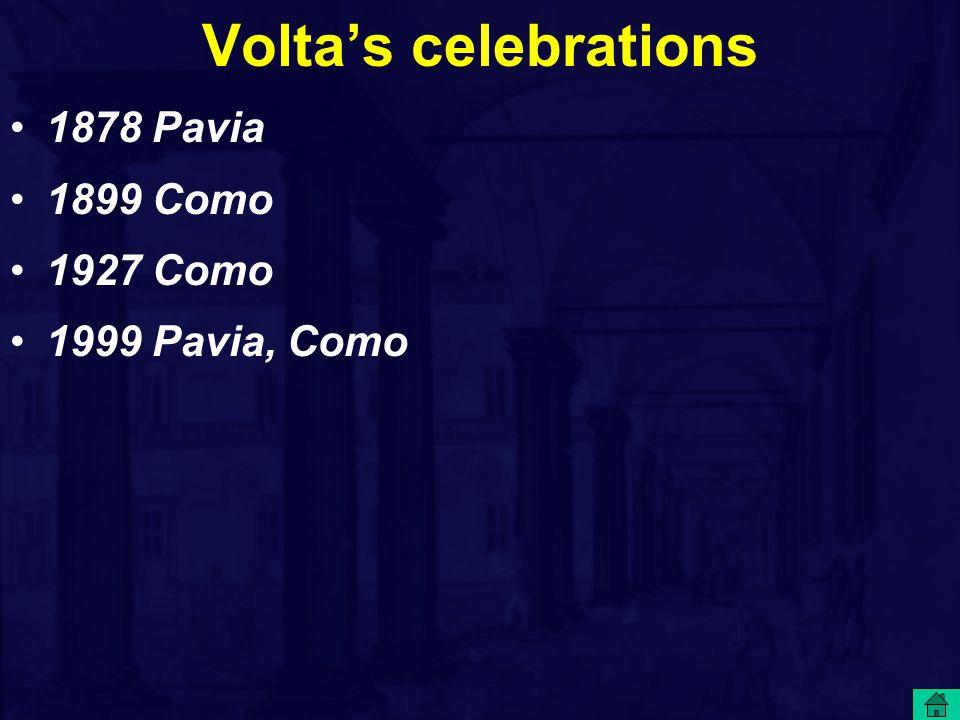 Volta's celebrations 1878 Pavia 1899 Como 1927 Como 1999 Pavia, Como