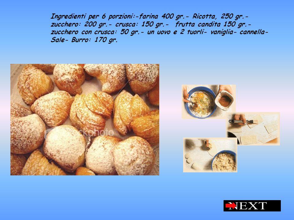 Ingredienti per 6 porzioni:-farina 400 gr.- Ricotta, 250 gr.- zucchero: 200 gr.- crusca: 150 gr.- frutta candita 150 gr.- zucchero con crusca: 50 gr.- un uovo e 2 tuorli- vaniglia- cannella- Sale- Burro: 170 gr.