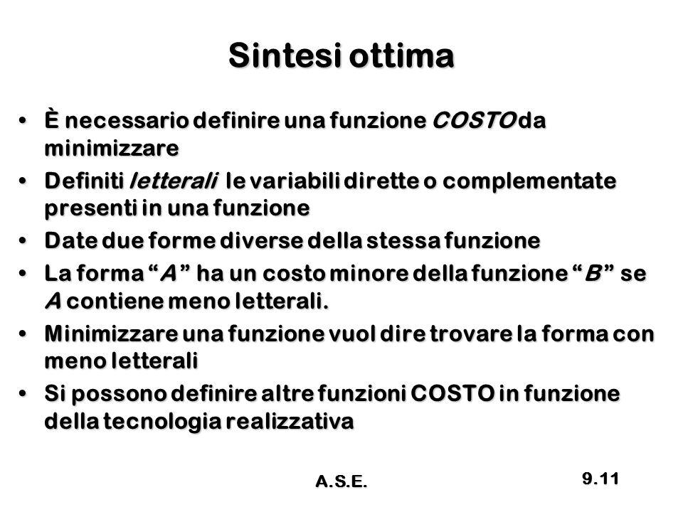 Sintesi ottima È necessario definire una funzione COSTO da minimizzareÈ necessario definire una funzione COSTO da minimizzare Definiti letterali le va