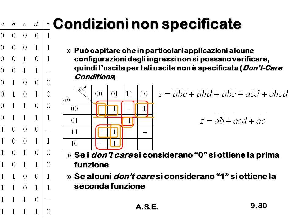 Condizioni non specificate »Può capitare che in particolari applicazioni alcune configurazioni degli ingressi non si possano verificare, quindi l'usci