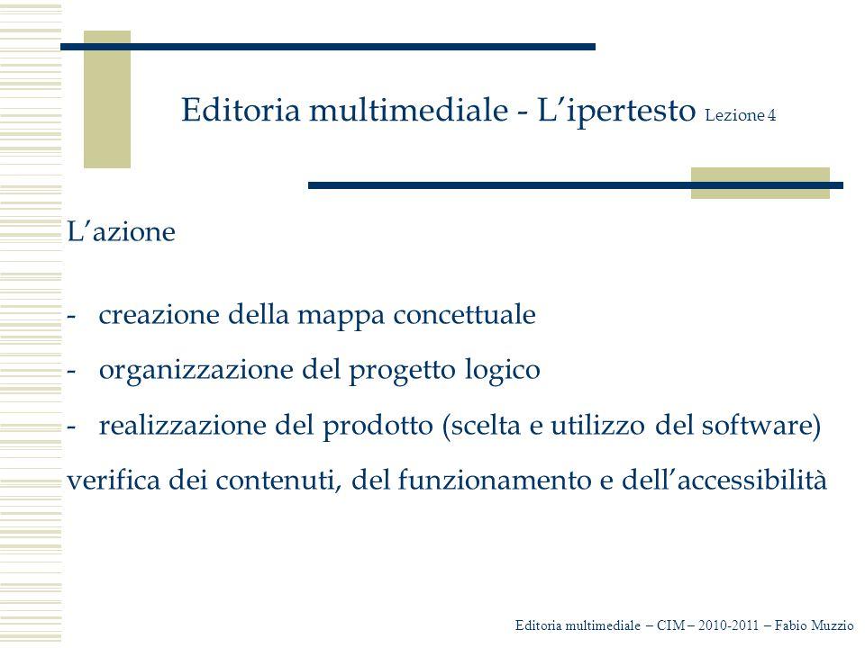 Editoria multimediale - L'ipertesto Lezione 4 L'azione -creazione della mappa concettuale -organizzazione del progetto logico -realizzazione del prodo