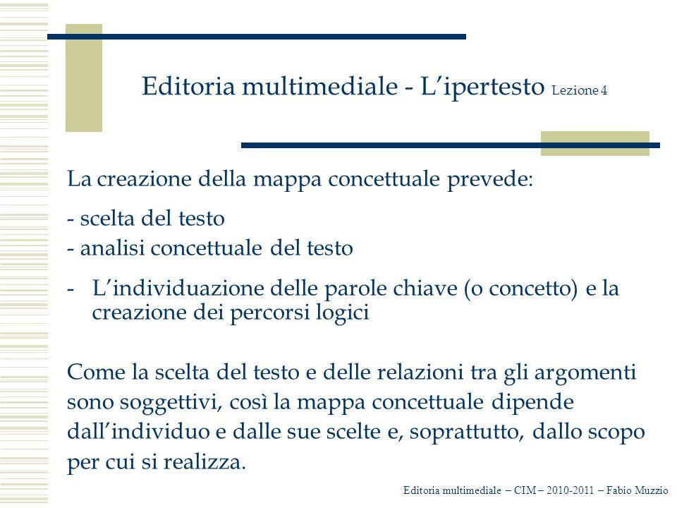 Editoria multimediale - L'ipertesto Lezione 4 La creazione della mappa concettuale prevede: - scelta del testo - analisi concettuale del testo -L'indi