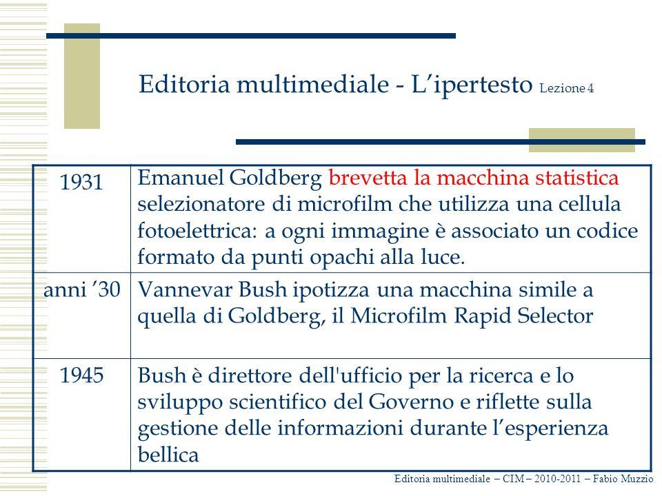Editoria multimediale - L'ipertesto Lezione 4 La visione di Bush è quella di una scrivania' automatizzata che renda possibile reperire, visualizzare, organizzare e archiviare informazione in maniera semplice e funzionale: il Memex ( memory expansion ) Editoria multimediale – CIM – 2010-2011 – Fabio Muzzio