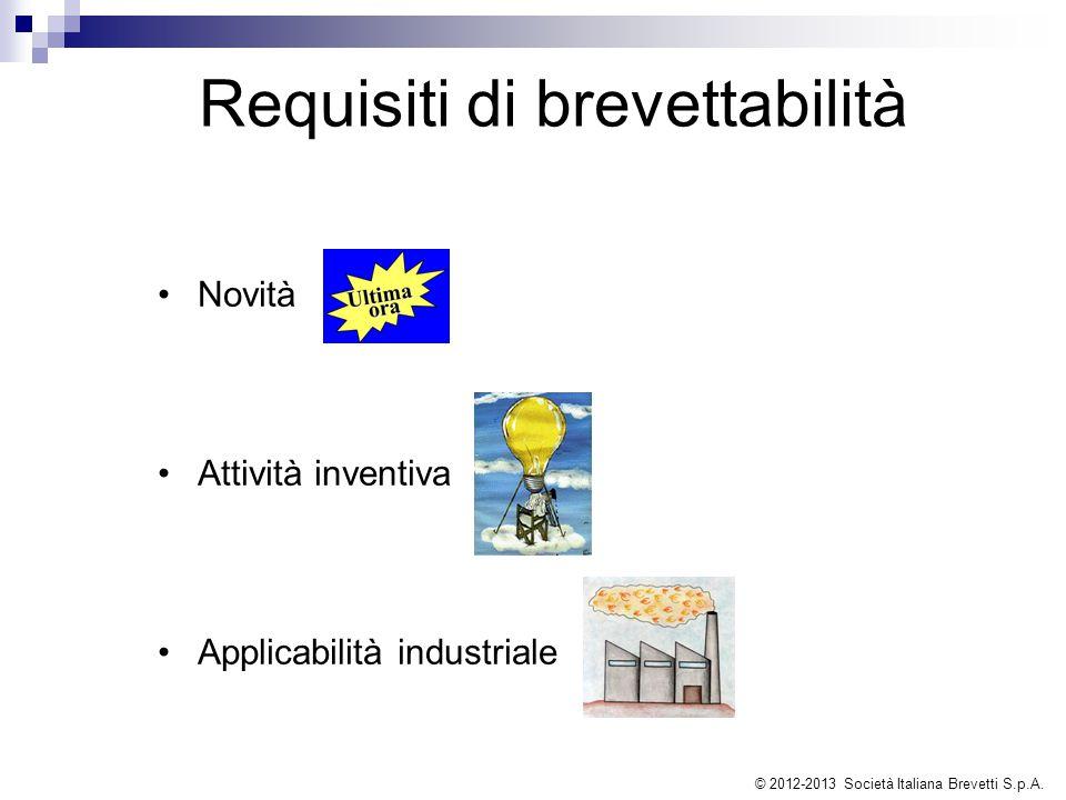 Requisiti di brevettabilità Novità Attività inventiva Applicabilità industriale © 2012-2013 Società Italiana Brevetti S.p.A.