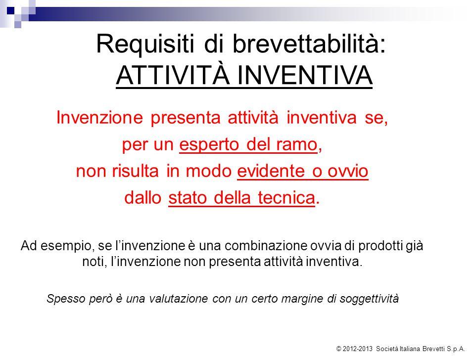 Requisiti di brevettabilità: ATTIVITÀ INVENTIVA Invenzione presenta attività inventiva se, per un esperto del ramo, non risulta in modo evidente o ovv