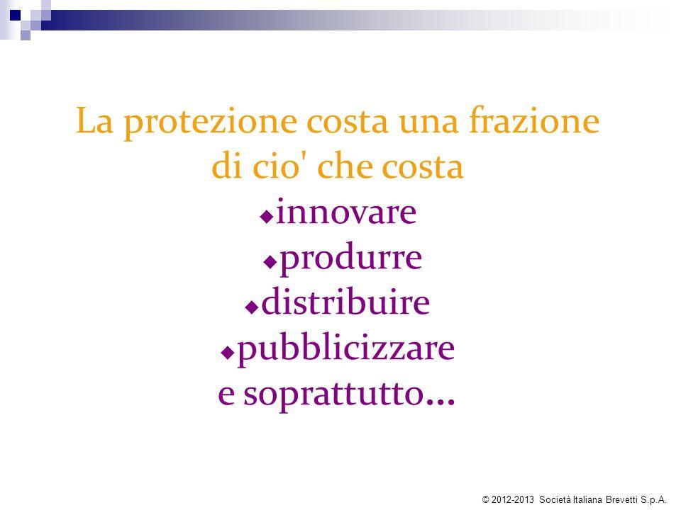La protezione costa una frazione di cio' che costa  innovare  produrre  distribuire  pubblicizzare e soprattutto... © 2012-2013 Società Italiana B