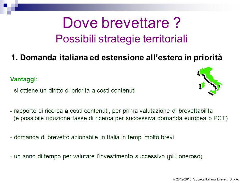 1. Domanda italiana ed estensione all'estero in priorità Vantaggi: - si ottiene un diritto di priorità a costi contenuti - rapporto di ricerca a costi