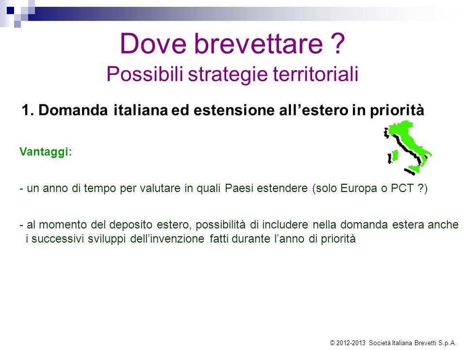 Dove brevettare ? Possibili strategie territoriali 1. Domanda italiana ed estensione all'estero in priorità Vantaggi: - un anno di tempo per valutare