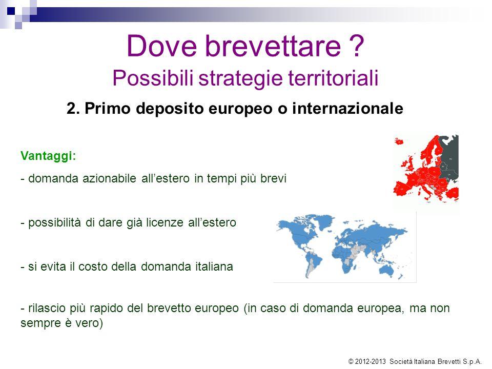 Dove brevettare ? Possibili strategie territoriali Vantaggi: - domanda azionabile all'estero in tempi più brevi - possibilità di dare già licenze all'