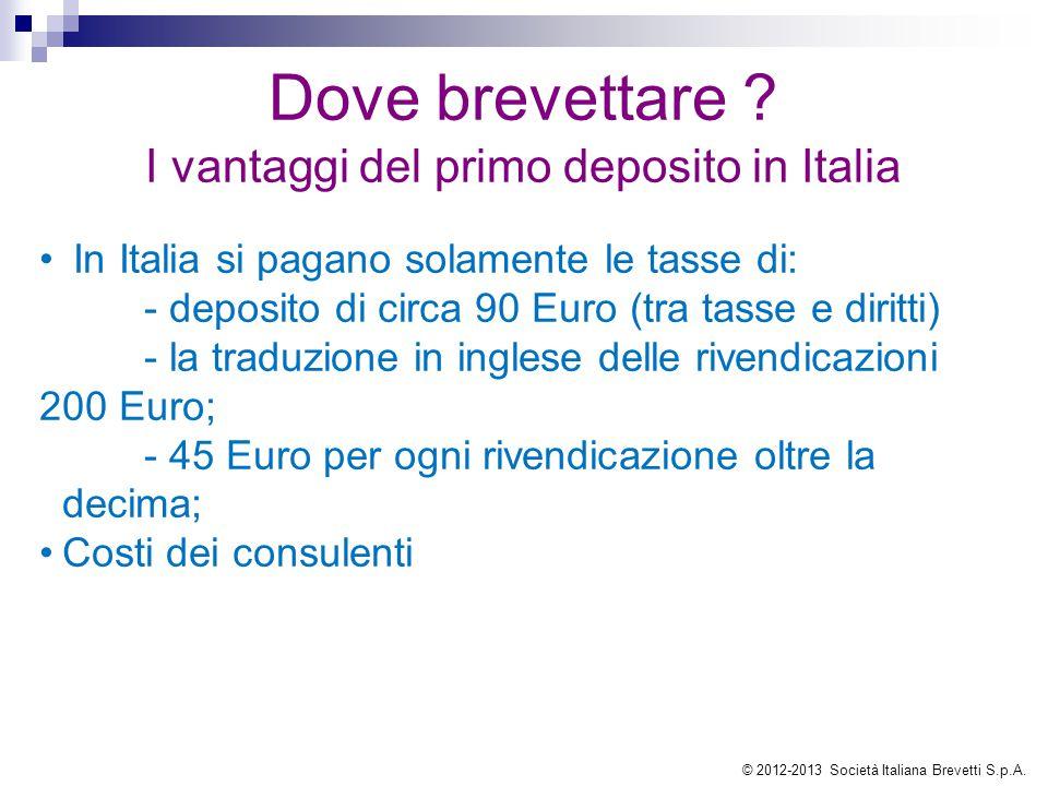 Dove brevettare ? I vantaggi del primo deposito in Italia In Italia si pagano solamente le tasse di: - deposito di circa 90 Euro (tra tasse e diritti)