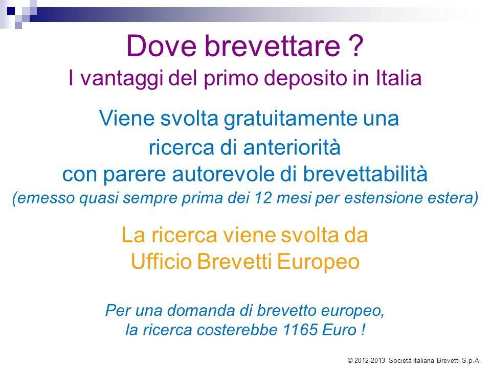Dove brevettare ? I vantaggi del primo deposito in Italia Viene svolta gratuitamente una ricerca di anteriorità con parere autorevole di brevettabilit