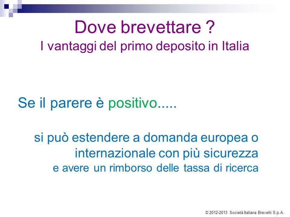 Dove brevettare ? I vantaggi del primo deposito in Italia Se il parere è positivo..... si può estendere a domanda europea o internazionale con più sic