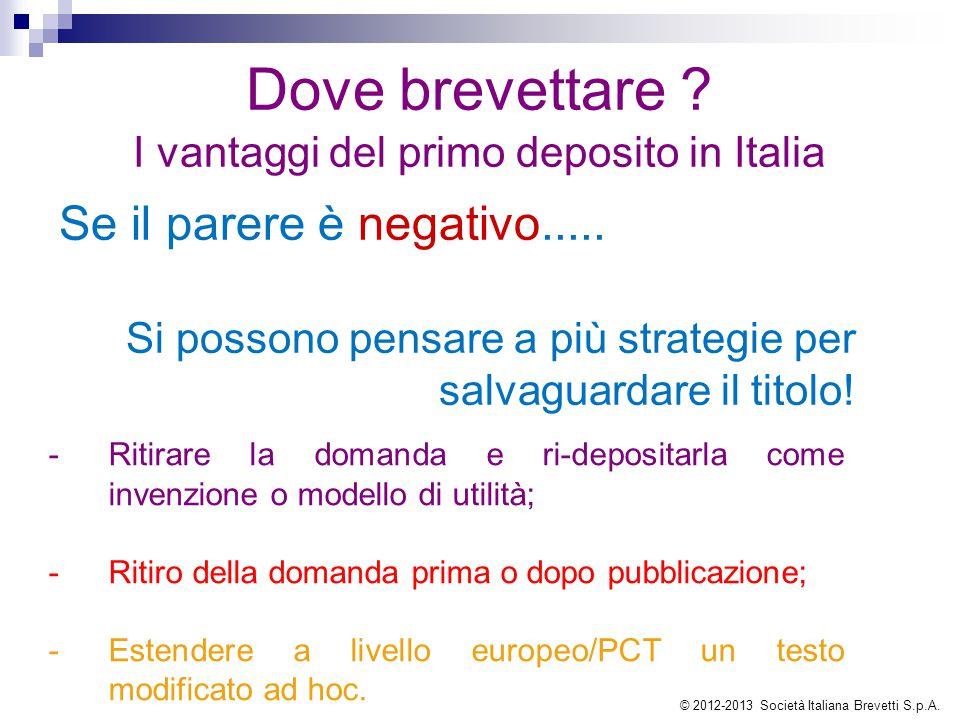 Dove brevettare ? I vantaggi del primo deposito in Italia Se il parere è negativo..... Si possono pensare a più strategie per salvaguardare il titolo!