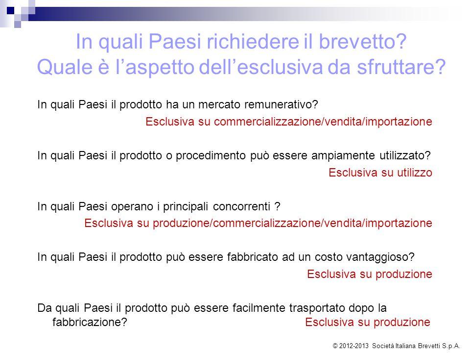In quali Paesi il prodotto ha un mercato remunerativo? Esclusiva su commercializzazione/vendita/importazione In quali Paesi il prodotto o procedimento