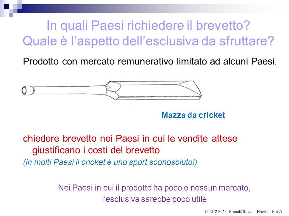 Prodotto con mercato remunerativo limitato ad alcuni Paesi : Mazza da cricket chiedere brevetto nei Paesi in cui le vendite attese giustificano i cost