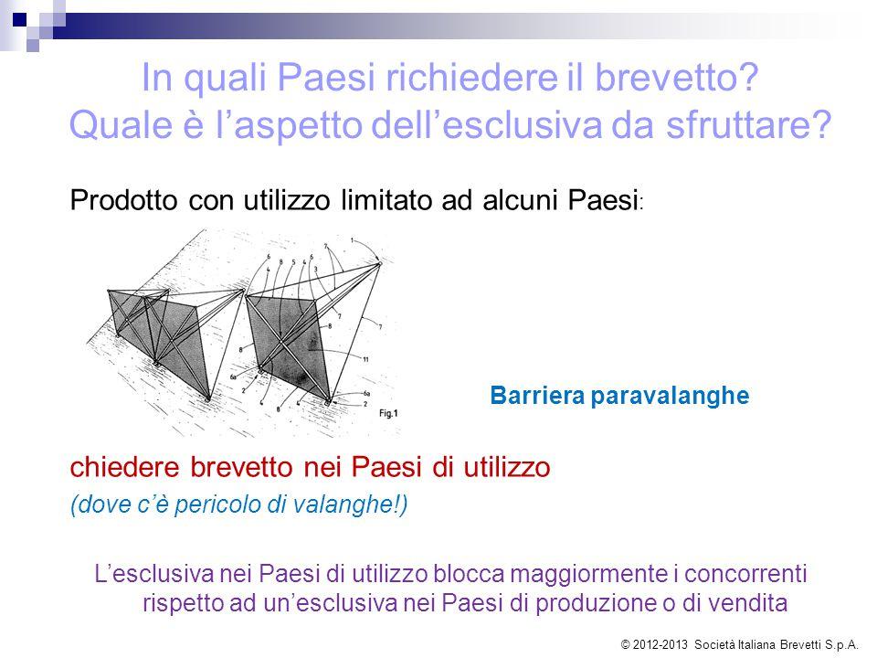 Prodotto con utilizzo limitato ad alcuni Paesi : Barriera paravalanghe chiedere brevetto nei Paesi di utilizzo (dove c'è pericolo di valanghe!) L'escl