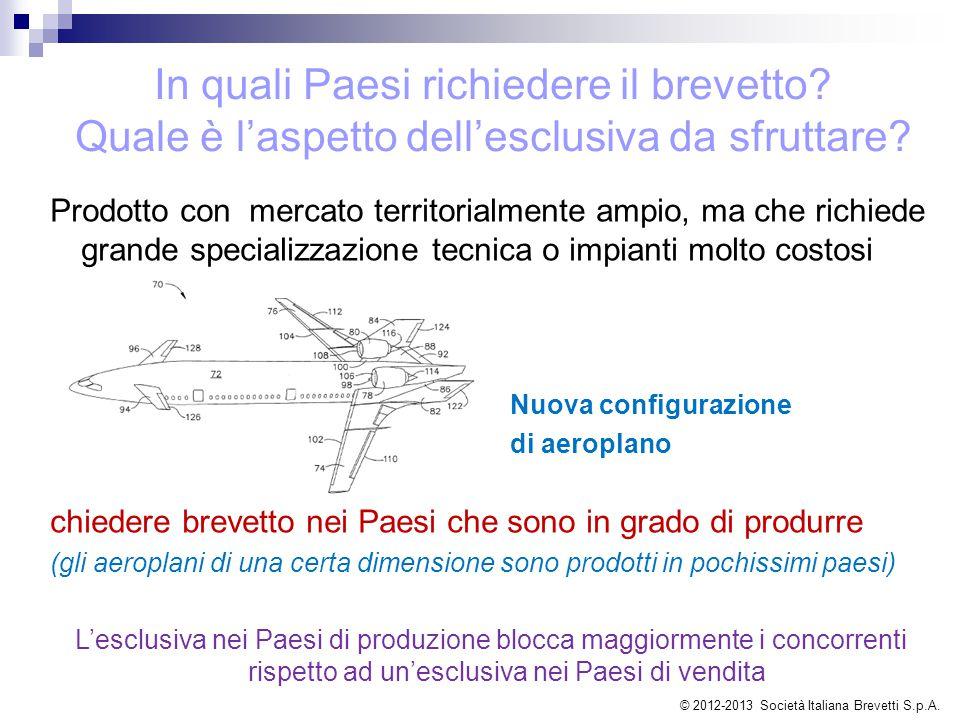 Prodotto con mercato territorialmente ampio, ma che richiede grande specializzazione tecnica o impianti molto costosi Nuova configurazione di aeroplan