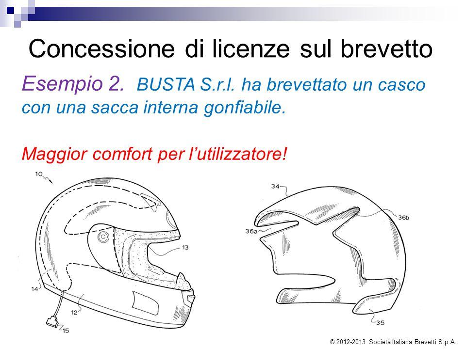 Concessione di licenze sul brevetto Esempio 2. BUSTA S.r.l. ha brevettato un casco con una sacca interna gonfiabile. Maggior comfort per l'utilizzator