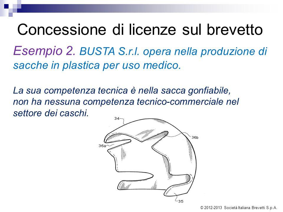 Concessione di licenze sul brevetto Esempio 2. BUSTA S.r.l. opera nella produzione di sacche in plastica per uso medico. La sua competenza tecnica è n