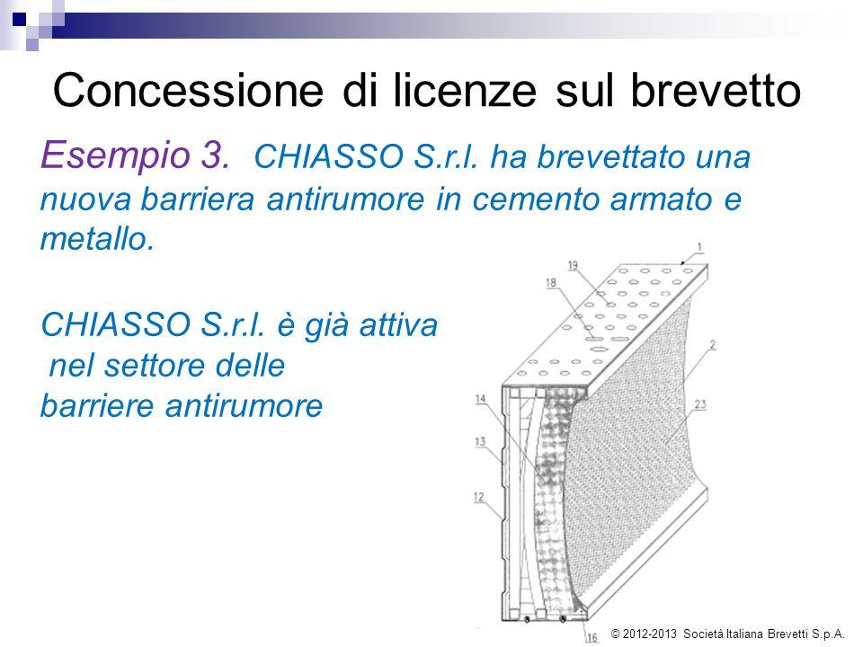 Concessione di licenze sul brevetto Esempio 3. CHIASSO S.r.l. ha brevettato una nuova barriera antirumore in cemento armato e metallo. CHIASSO S.r.l.