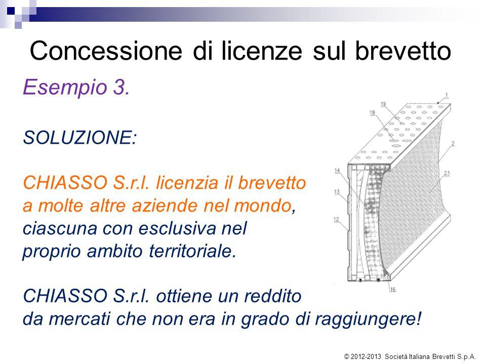 Concessione di licenze sul brevetto Esempio 3. SOLUZIONE: CHIASSO S.r.l. licenzia il brevetto a molte altre aziende nel mondo, ciascuna con esclusiva