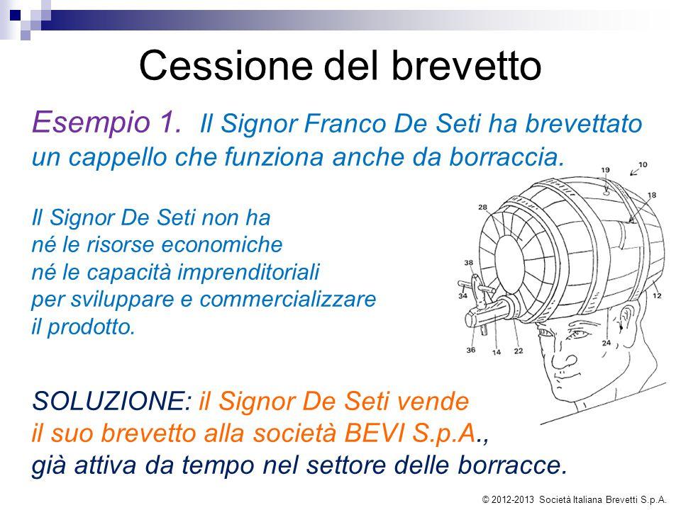 Esempio 1. Il Signor Franco De Seti ha brevettato un cappello che funziona anche da borraccia. Il Signor De Seti non ha né le risorse economiche né le