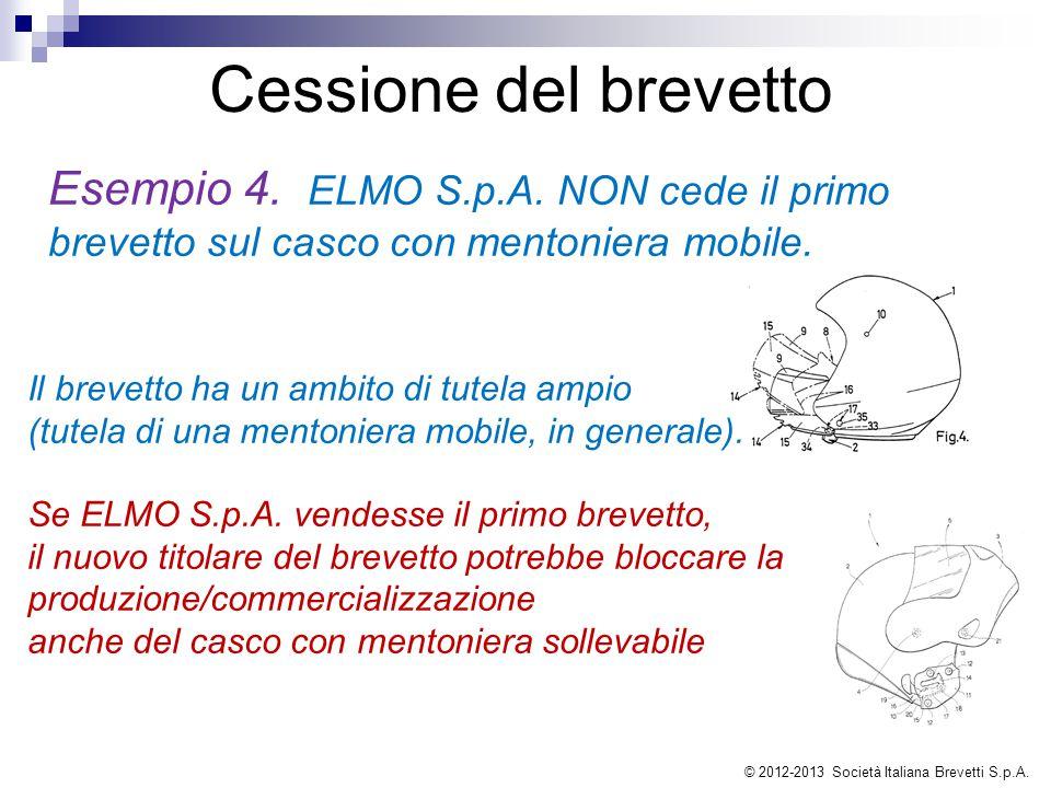 Esempio 4. ELMO S.p.A. NON cede il primo brevetto sul casco con mentoniera mobile. Cessione del brevetto Il brevetto ha un ambito di tutela ampio (tut