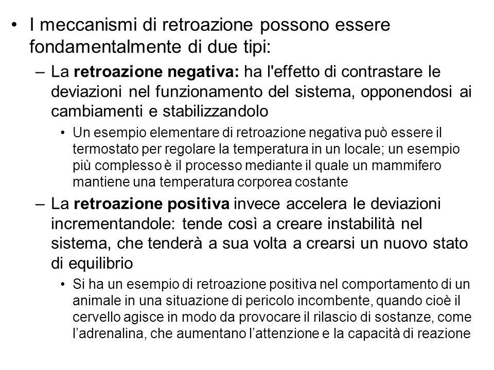 I meccanismi di retroazione possono essere fondamentalmente di due tipi: –La retroazione negativa: ha l'effetto di contrastare le deviazioni nel funzi