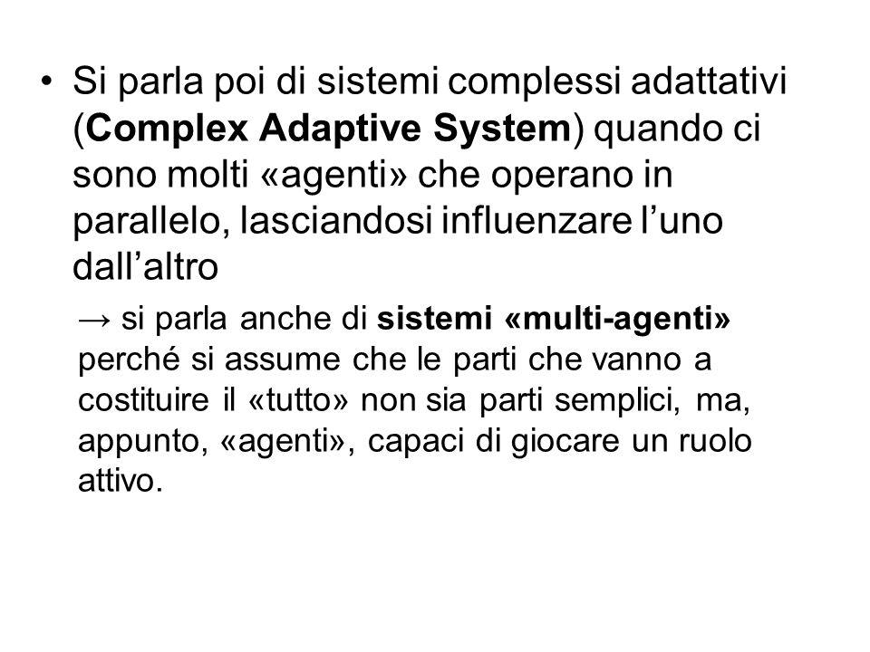 Si parla poi di sistemi complessi adattativi (Complex Adaptive System) quando ci sono molti «agenti» che operano in parallelo, lasciandosi influenzare