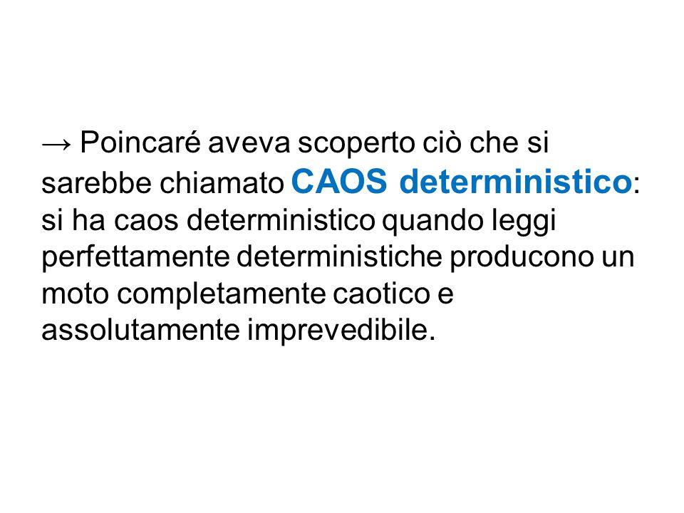 → Poincaré aveva scoperto ciò che si sarebbe chiamato CAOS deterministico : si ha caos deterministico quando leggi perfettamente deterministiche produ