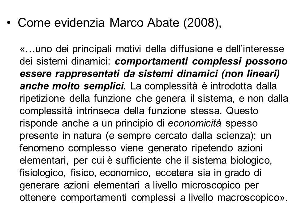 Come evidenzia Marco Abate (2008), «…uno dei principali motivi della diffusione e dell'interesse dei sistemi dinamici: comportamenti complessi possono