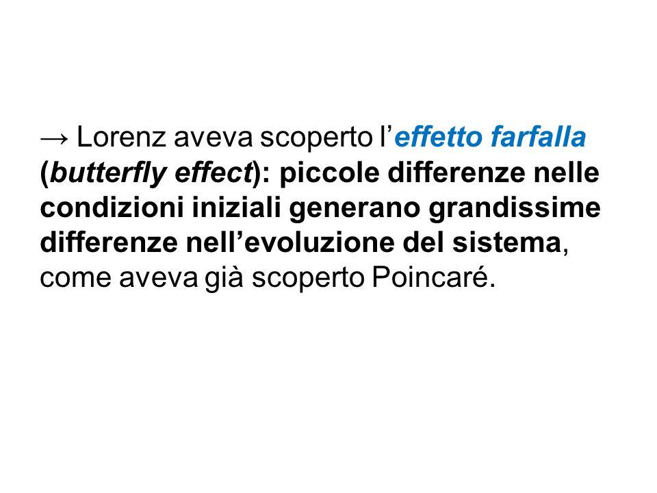 → Lorenz aveva scoperto l'effetto farfalla (butterfly effect): piccole differenze nelle condizioni iniziali generano grandissime differenze nell'evolu