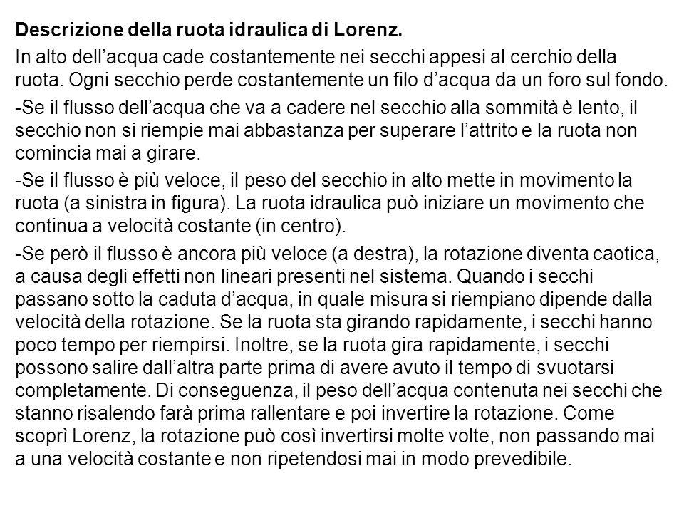 Descrizione della ruota idraulica di Lorenz. In alto dell'acqua cade costantemente nei secchi appesi al cerchio della ruota. Ogni secchio perde costan