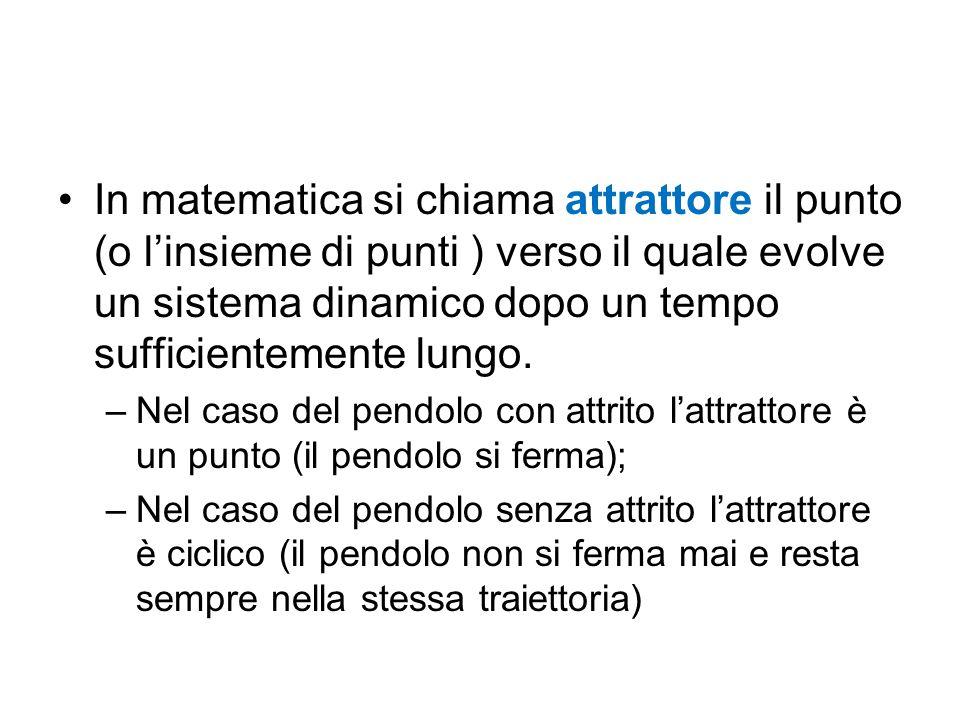 In matematica si chiama attrattore il punto (o l'insieme di punti ) verso il quale evolve un sistema dinamico dopo un tempo sufficientemente lungo. –N