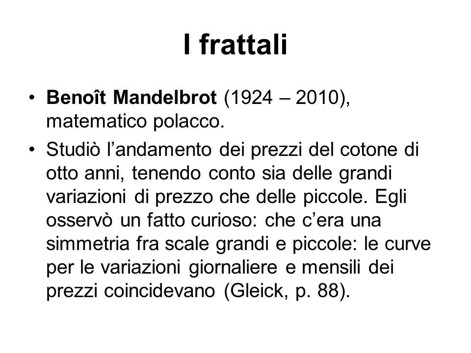 I frattali Benoît Mandelbrot (1924 – 2010), matematico polacco. Studiò l'andamento dei prezzi del cotone di otto anni, tenendo conto sia delle grandi